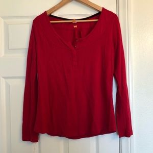 Lucy Red Henley Long Sleeve Top